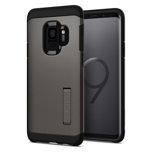 new arrivals 7f3d0 180a6 Spigen Tough Armor Case with Kickstand for Samsung Galaxy S9 - Gunmetal