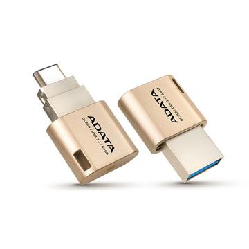 الصورة: اداتا ، ذاكرة فلاش ميموري من USB-A الى USB-C بسعة 16GB لاجهزة الابتوب والهواتف الذكية  - ذهبي