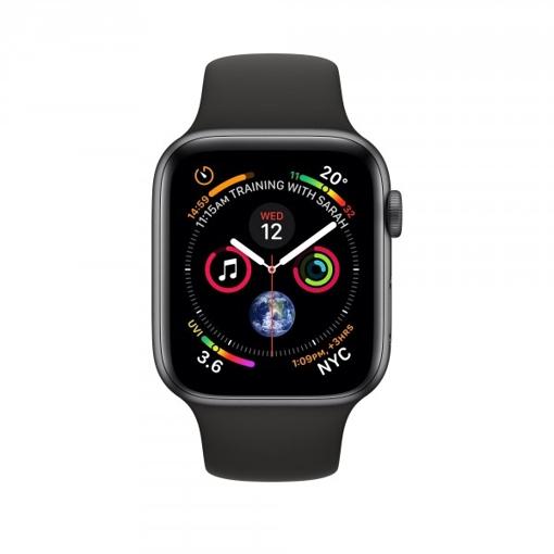 صورة أبل ، ساعة ذكية الاصدار الرابع هيكل الامنيوم بحجم 40 ملم مع سوار رياضي أسود - رمادي