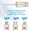 صورة بروميت كيبل مقوى 3 في 1 Lightning, Type-C, and Micro-USB - ذهبي