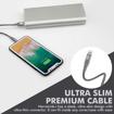 صورة بروميت كابل مقوى الترا سليم رفيع USB-A الى Lightning لاجهزة ابل بطول 1.2 متر - رصاصي
