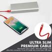 صورة بروميت كابل مقوى الترا سليم رفيع USB-A الى Lightning لاجهزة ابل بطول 1.2 متر - أحمر