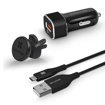 Picture of Promate Power Bundle with QC3.0 Car Charger, Magnetic Mount And USB-C Cable - Black