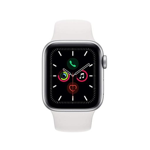 صورة أبل ، ساعة ذكية الاصدار الخامس هيكل الامنيوم فضي بحجم 44 ملم مع سوار رياضي - أبيض