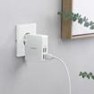 صورة انكر باور بورت لايت شاحن جداري متعدد القوابس للسفر مع 4 منافذ USB يدعم تقنية PowerIQ بقوة 27W - ابيض