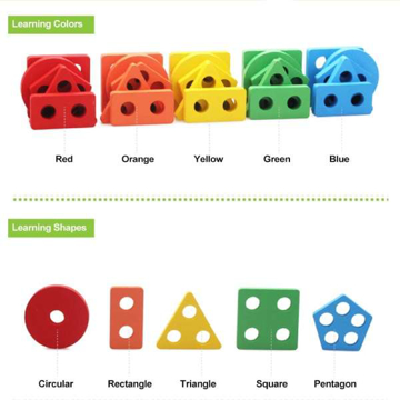 Picture of Wooden Geometric Shape Stacking Blocks - ZK01-07