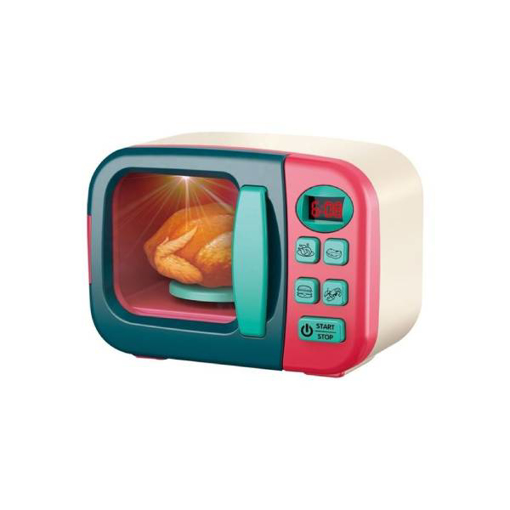 صورة Pretend Play Microwave Oven With Food And tableware 16x10x12سم